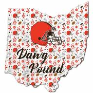 """Cleveland Browns 12"""" Floral State Sign"""