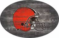 """Cleveland Browns 46"""" Distressed Wood Oval Sign"""