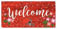 """Cleveland Browns 6"""" x 12"""" Floral Welcome Sign"""