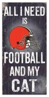 """Cleveland Browns 6"""" x 12"""" Football & My Cat Sign"""