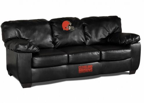Cleveland Browns Black Leather Classic Sofa