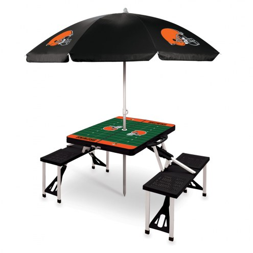 Cleveland Browns Black Picnic Table w/Umbrella