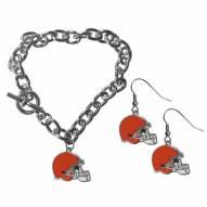 Cleveland Browns Chain Bracelet & Dangle Earring Set