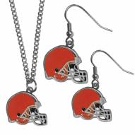 Cleveland Browns Dangle Earrings & Chain Necklace Set