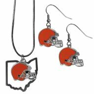 Cleveland Browns Dangle Earrings & State Necklace Set