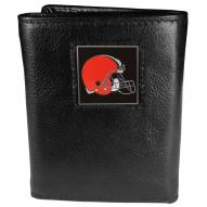 Cleveland Browns Deluxe Leather Tri-fold Wallet in Gift Box