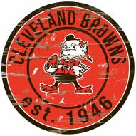 Cleveland Browns Distressed Round Sign