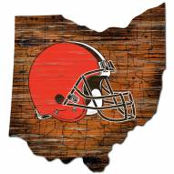 Cleveland Browns Distressed State with Logo Sign