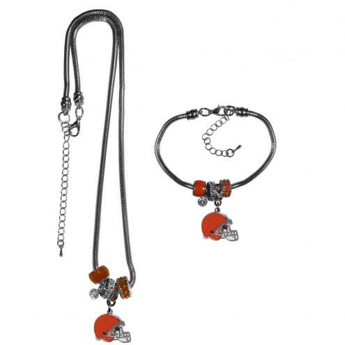 Cleveland Browns Euro Bead Necklace & Bracelet Set