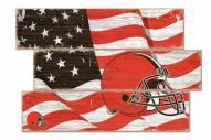 Cleveland Browns Flag 3 Plank Sign