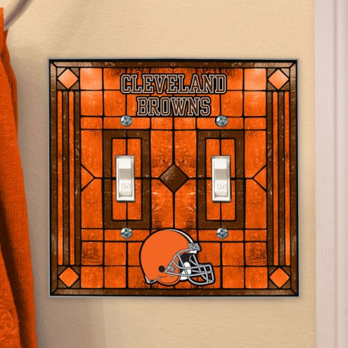 Cleveland Browns Glass Double Switch Plate Cover