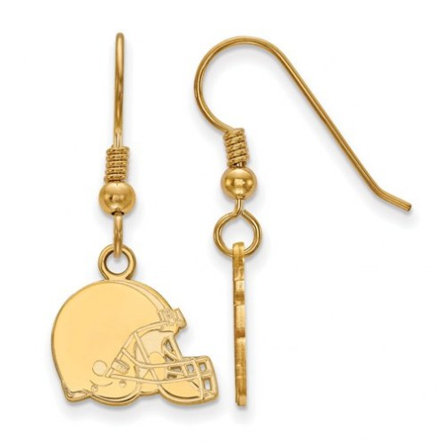 Cleveland Browns Sterling Silver Gold Plated Extra Small Wire Dangle Earrings