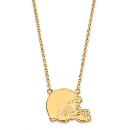 Cleveland Browns Sterling Silver Gold Plated Large Pendant with Necklace