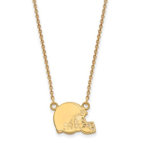 Cleveland Browns Sterling Silver Gold Plated Small Pendant with Necklace