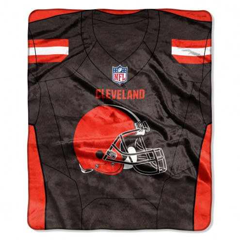 Cleveland Browns Jersey Raschel Throw Blanket
