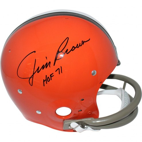"Cleveland Browns Jim Brown Signed 62-74 Riddell TK Throwback Full Size Replica Helmet w/ ""HOF 71"""