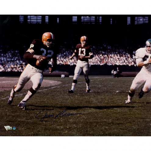 Cleveland Browns Jim Brown Signed Running vs Eagles Color 16 x 20 Photo