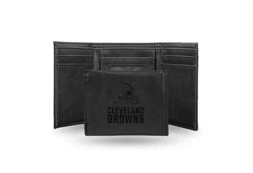 Cleveland Browns Laser Engraved Black Trifold Wallet