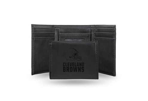 Cleveland Browns Laser Engraved Black Trifold Wallet