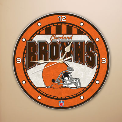 Cleveland Browns NFL Stained Glass Wall Clock