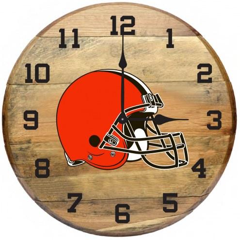 Cleveland Browns Oak Barrel Clock