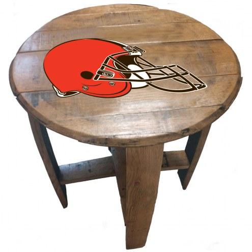 Cleveland Browns Oak Barrel Table
