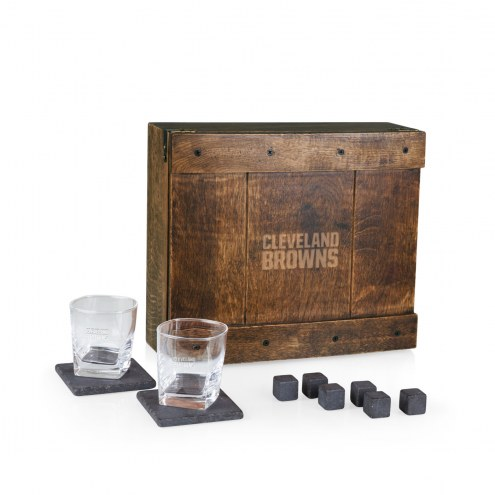Cleveland Browns Oak Whiskey Box Gift Set