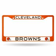 Cleveland Browns Orange Colored Chrome License Plate Frame