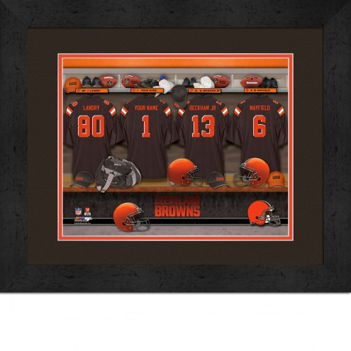 Cleveland Browns Personalized Locker Room 13 x 16 Framed Photograph