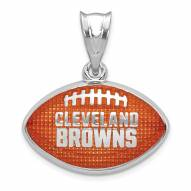 Cleveland Browns Sterling Silver Enameled Football Pendant