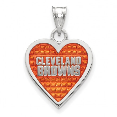 Cleveland Browns Sterling Silver Enameled Heart Pendant