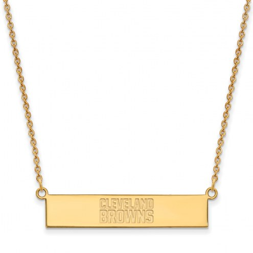 Cleveland Browns Sterling Silver Gold Plated Bar Necklace