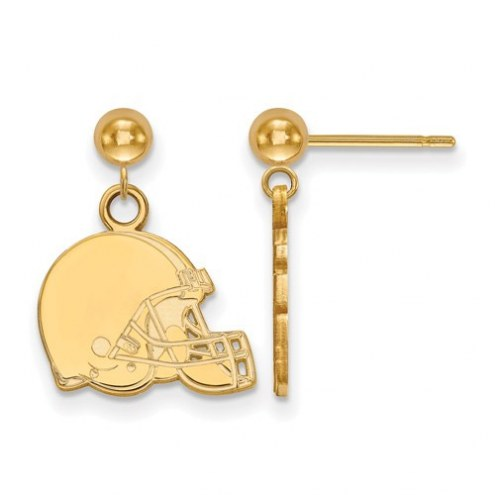 Cleveland Browns Sterling Silver Gold Plated Dangle Ball Earrings