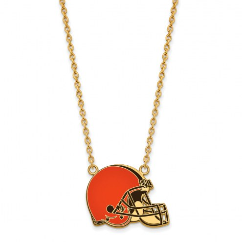 Cleveland Browns Sterling Silver Gold Plated Large Pendant Necklace