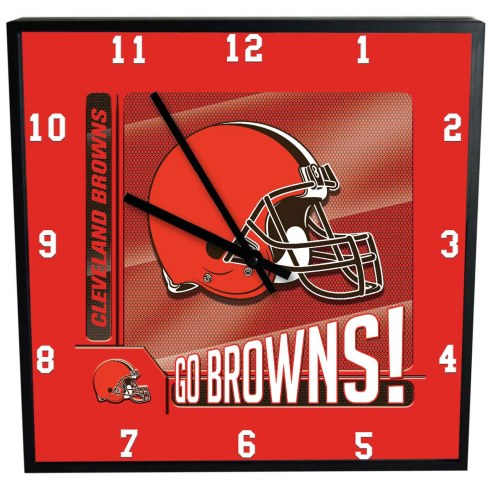Cleveland Browns Team Black Square Clock