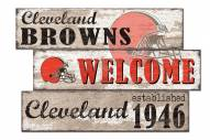 Cleveland Browns Welcome 3 Plank Sign