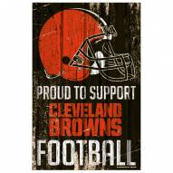 Cleveland Browns Proud to Support Wood Sign