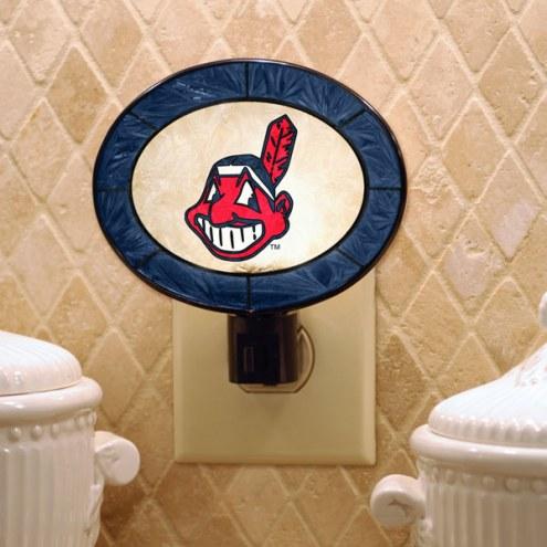 Cleveland Indians Art Glass Night Light