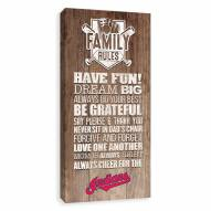 Cleveland Indians Family Rules Icon Wood Printed Canvas