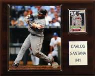 "Cleveland Indians Carlos Santana 12"" x 15"" Player Plaque"