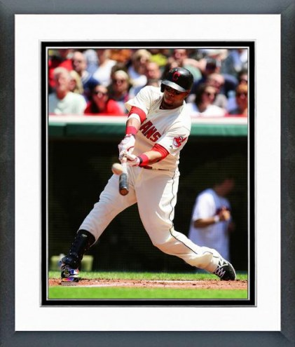 Cleveland Indians Carlos Santana Action Framed Photo