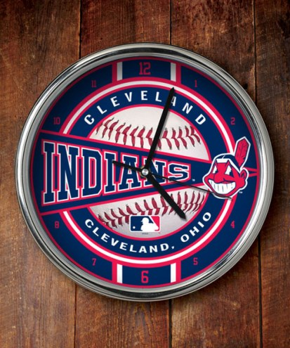 Cleveland Indians Chrome Wall Clock