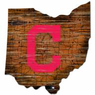 Cleveland Indians Distressed State with Logo Sign