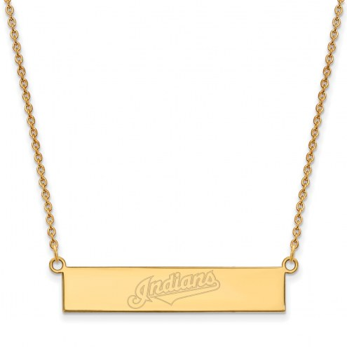 Cleveland Indians Sterling Silver Gold Plated Bar Necklace