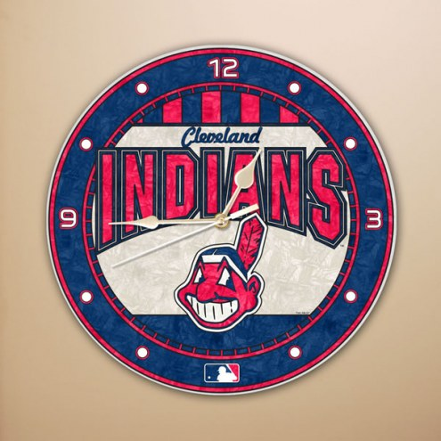 Cleveland Indians MLB Stained Glass Wall Clock