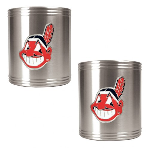 Cleveland Indians MLB Stainless Steel Can Holder 2-Piece Set