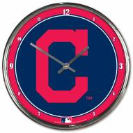 Cleveland Indians Round Chrome Wall Clock