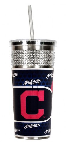 Cleveland Indians Silver Bling Tumbler with Straw
