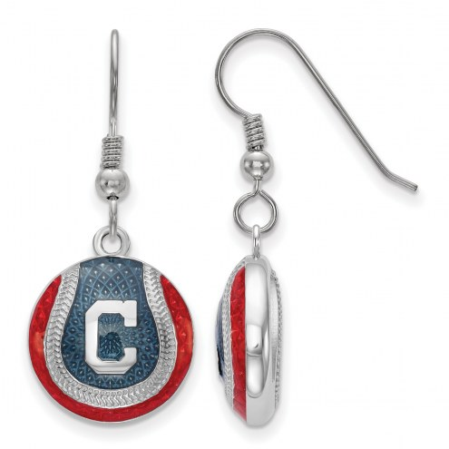 Cleveland Indians Sterling Silver Baseball Earrings
