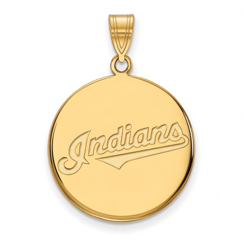 Cleveland Indians Sterling Silver Gold Plated Large Disc Pendant